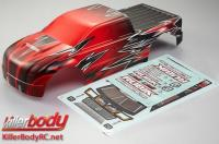 Body - Monster Truck - Scale - Painted - Rubik - Knight-red pattern - fits Traxxas E-Maxx