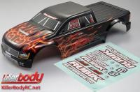 Body - Monster Truck - Scale - Finished - Rubik - Flame pattern - fits Traxxas E-Maxx
