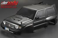 Body - 1/10 Crawler - Scale - Finished - Box - Mitsubishi Pajero EVO 1998 - Black - fits Traxxas Telluride 4X4 & Tamiya HILUX High-Lift