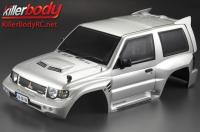 Body - 1/10 Crawler - Scale - Finished - Box - Mitsubishi Pajero EVO 1998 - Silver - fits Traxxas Telluride 4X4 & Tamiya HILUX High-Lift