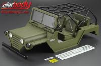 Body - 1/10 Crawler - Scale - Finished - Box - Warrior - Mat Military Green - fits Axial SCX10 Chassis
