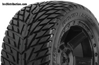 "Tires - 1/10 Truck - 30 Series - mounted - Desperado Black Wheels - Electric Rear - Road Rage 2.8"" Street Truck"