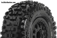 "Tires - 1/10 Short Course - 2.2""/3.0"" - Mounted on Renegade Black Wheels - Slash and Blitz Rear, Slash  4x4 Front or Rear & Blitz Front (with modification) - Badlands SC M2"