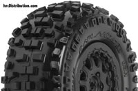 "Tires - 1/10 Short Course - 2.2""/3.0"" - Mounted on ProTrac Renegade Black Wheels - Slash 2WD Front or Rear and SC10 Rear (using 12mm adapter kit) - Badlands SC M2"