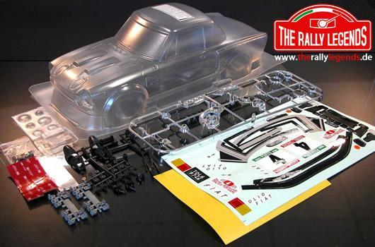 Rally Legends - EZRL2410 - Body - 1/10 Rally - Scale - Clear - Fiat 124 with stickers and accessories