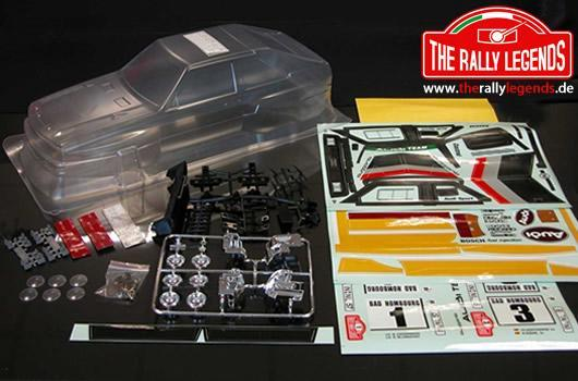 Rally Legends - EZRL2426 - Body - 1/10 Rally - Scale - Clear - Audi Quattro with stickers and accessories