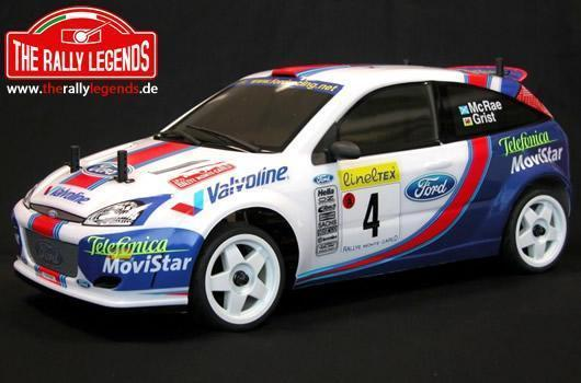 Rally Legends - EZRL002 - Car - 1/10 Electric - 4WD Rally - ARTR - Waterproof ESC - Ford Focus WRC McRae / Grist 2001 - CLEAR Body
