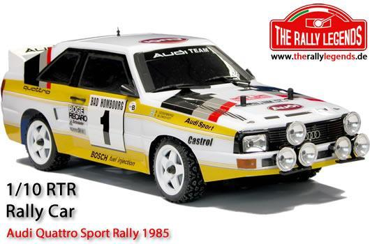 Rally Legends - EZRL005 - Car - 1/10 Electric - 4WD Rally - ARTR - Waterproof ESC - Audi Quattro Sport Rally 1985 - CLEAR Body