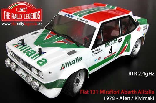 Rally Legends - EZRL036 - Car - 1/10 Electric - 4WD Rally - ARTR - Waterproof ESC - Fiat 131 Abarth 1978 Alitalia - PAINTED Body