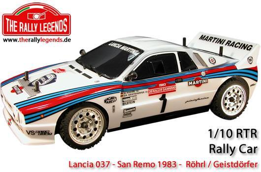 Rally Legends - EZRL0385 - Car - 1/10 Electric - 4WD Rally - ARTR - Waterproof ESC - Lancia 037 MKII - CLEAR Body