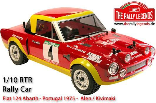 Rally Legends - EZRL125 - Car - 1/10 Electric - 4WD Rally - ARTR - Waterproof ESC - Fiat 124 Abarth 1975 - CLEAR Body