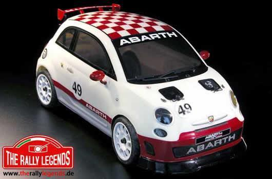 Rally Legends - EZQR502 - Car - 1/10 Electric - 4WD Touring - ARTR - Waterproof ESC - Abarth 500 Challenge - CLEAR Body