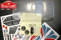 Body - 1/10 Rally - Scale - Clear - Lancia Delta with white Martini stickers and accessories