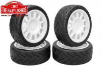 Tires - 1/10 Touring - mounted - white Wheels - 12mm Hex - Speedgrip Back2Fun (4 pcs)