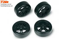 Tires - 1/10 Drift - mounted - 5 Spoke Black wheels - 12mm Hex - Hard (4 pcs)