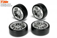 Tires - 1/10 Drift - mounted - 5 Spoke Silver wheels - 12mm Hex - Hard (4 pcs)