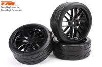 "Tires - 1/10 Drift - mounted - 8 Spoke Black wheels - 12mm Hex - Radials 2.2"" (4 pcs)"