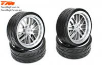 "Tires - 1/10 Drift - mounted - 8 Spoke Fog Silver wheels - 12mm Hex - Radials 2.2"" (4 pcs)"