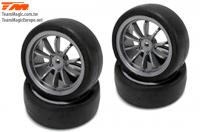 Tires - 1/10 Touring - mounted - 10 Spoke Fog Silver wheels - 12mm Hex - Slics (4 pcs)