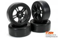 Tires - 1/10 Touring - mounted - 5 Spoke Black wheels - 12mm Hex - Slics (4 pcs)