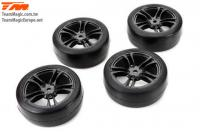 Tires - 1/10 Touring - mounted - 5 Spoke Silver wheels - 12mm Hex - High Grip (4 pcs)