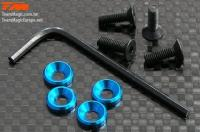 Screws - Engine Mount Special - 3mm Flat Head with Conical Washer - Blue (4 pcs)