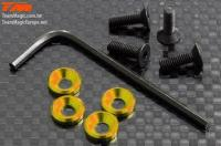 Screws - Engine Mount Special - 3mm Flat Head with Conical Washer - Gold (4 pcs)