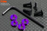 Screws - Engine Mount Special - 3mm Flat Head with Conical Washer - Purple (4 pcs)