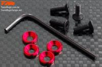 Screws - Engine Mount Special - 3mm Flat Head with Conical Washer - Red (4 pcs)