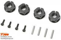 Option Part - E5 - Clamp Type Wheel Hexes 12mm - Black (4 pcs)