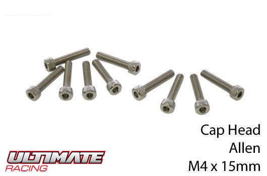 Ultimate Racing - UR163415 - Screws - Cap Head - Hex (Allen) - M4 x 15mm (10 pcs)
