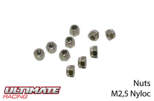 Ultimate Racing - UR165250 - Nuts - M2.5 nyloc (10 pcs)