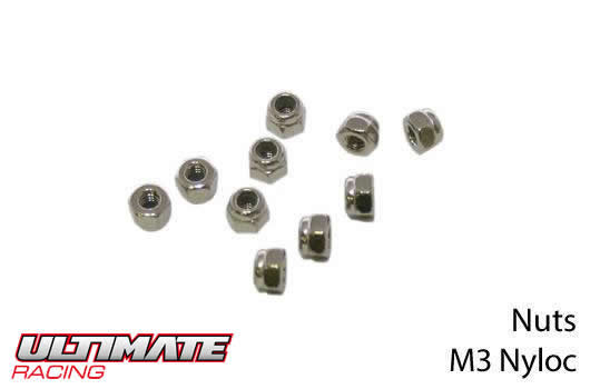 Ultimate Racing - UR165300 - Nuts - M3 nyloc (10 pcs)