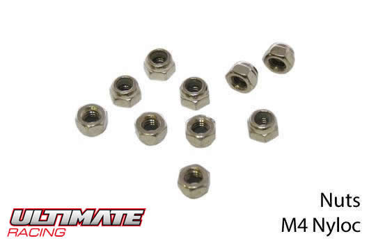 Ultimate Racing - UR165400 - Nuts - M4 nyloc (10 pcs)