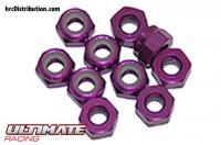 Nuts - M3 nyloc - Aluminum - Purple (10 pcs)