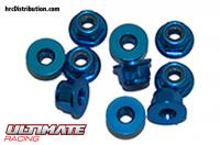 Nuts - M3 nyloc flanged - Aluminum - Blue (10 pcs)