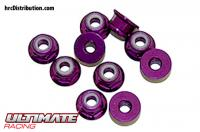 Nuts - M3 nyloc flanged - Aluminium - Purple (10 pcs)