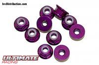Nuts - M3 nyloc flanged - Aluminum - Purple (10 pcs)