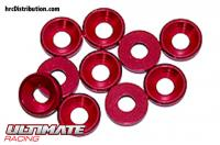 Washers - Conical - Aluminium - 3mm - Red (10 pcs)