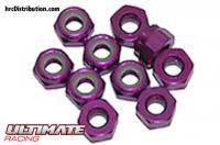 Nuts - M4 nyloc - Aluminium - Purple (10 pcs)