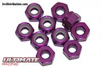Nuts - M4 nyloc - Aluminum - Purple (10 pcs)