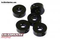 Stoppers - Aluminium - 4mm - Black (5 pcs)