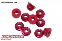 Nuts - M3 nyloc flanged - Aluminum - Red (10 pcs)