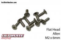 Screws - Flat Head - Hex (Allen) - M2 x  6mm (10 pcs)