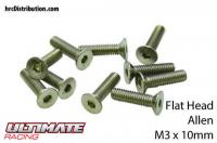 Screws - Flat Head - Hex (Allen) - M3 x 10mm (10 pcs)